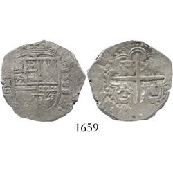 Seville, Spain, cob 2 reales, 1588 date to right, assayer Gothic D to left of shield, rare first dat
