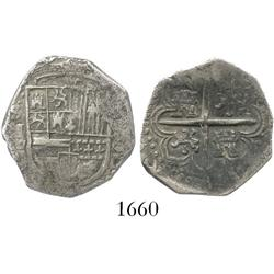 Seville, Spain, cob 2 reales, (15)89 date to right, assayer Gothic D to left of shield.