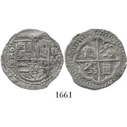 Toledo, Spain, cob 2 reales, (15)90/89 date to right, assayer circled-M below oT mintmark to left of