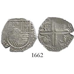 Seville, Spain, cob 2 reales, 1590 date to right, assayer H to left of shield.