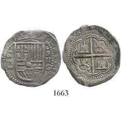 Granada, Spain, cob 2 reales, 1591 date to left, assayer oF to right of shield.