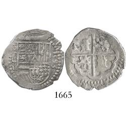 Toledo, Spain, cob 2 reales, 1593 date to right, assayer C to left of shield.