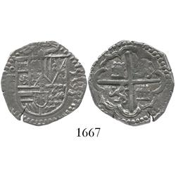 Toledo, Spain, cob 2 reales, 1595 date to right, assayer C to left of shield, ring around obverse.