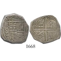 Granada, Spain, cob 2 reales, Philip II, 1597 date to left, assayer C to right of shield.