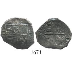 Granada, Spain, cob 2 reales, Philip II or  III, assayer M below mintmark G to right.