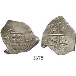 Seville, Spain, cob 2 reales, 1603B, rare.