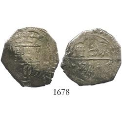 Toledo, Spain, cob 2 reales, 1605( C), rare (unlisted in KM).
