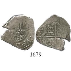 Seville, Spain, cob 2 reales, 1606(B), rare (unlisted).