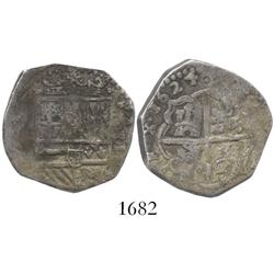 Spain (mint uncertain), cob 2 reales, 1624, assayer not visible.