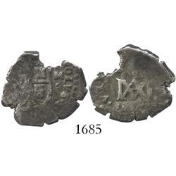 """Seville, Spain, cob 2 reales, (16)86M, """"Maria"""" type, rare."""