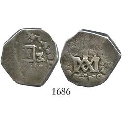 "Madrid or Seville, Spain, cob 2 reales, Charles II, assayer M (vertical), ""Maria"" type."
