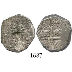 Spain (uncertain mint), cob 2 reales, 1704, assayer not visible.