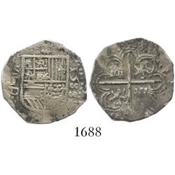Seville, Spain, cob 1 real, 1588 date to right, assayer Gothic D to left of shield, rare first date