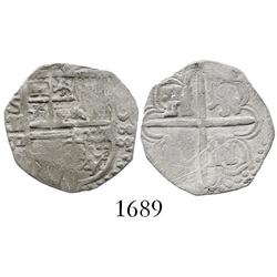 Seville, Spain, cob 1 real, 1588 date to right, assayer Gothic D to left of shield, error denominati
