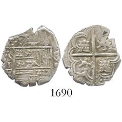 Seville, Spain, cob 1 real, 1589 date to right, assayer Gothic D to left of shield.