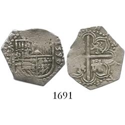 Seville, Spain, cob 1 real, 1590 date to right, assayer Gothic D to left of shield.
