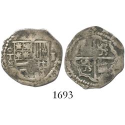Toledo, Spain, cob 1 real, Philip II, assayer circled-M below mintmark oT to left of shield.
