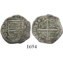 Valladolid, Spain, cob 1 real, Philip III, assayer oD above mintmark waves to left of shield, rare.