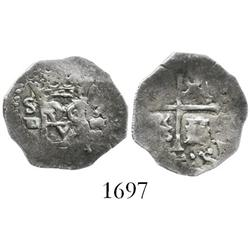 Seville, Spain, cob 1/2 real, 1588 date to right, assayer Gothic D to left of monogram, rare first d