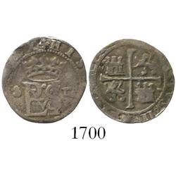 Seville, Spain, cob 1/2 real, Philip II, assayer Gothic D to right of monogram.