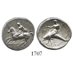 "Taras, Calabria, silver didrachm ""boy on dolphin"" (horse galloping left), 302-281 BC."