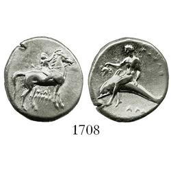 "Taras, Calabria, silver didrachm ""boy on dolphin"" (horse standing, facing right), 281-272 BC."