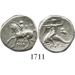 "Taras, Calabria, silver didrachm ""boy on dolphin"" (horse facing left), 272-235 BC."