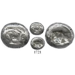 Lydia, Asia Minor, silver half stater (siglos), Kroisos, ca. 561-546 BC.