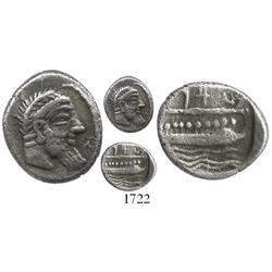 Sidon, Phoenicia, silver 1/3 stater, 350-332 BC.