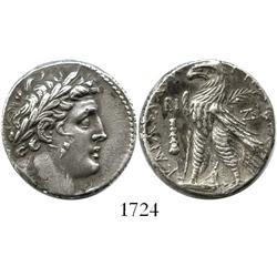 "Tyre, Phoenicia, tetradrachm ""shekel of Tyre,"" dated year 12 (115-4 BC), fine style (early type)."