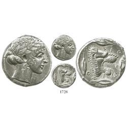 "Leontinoi, silver tetradrachm ""lion head,"" 466-425 BC."