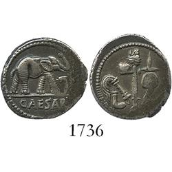 Roman Republic, silver denarius  elephant,  Julius Caesar, 49-48 BC.