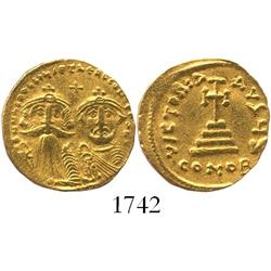 Byzantine Empire, gold solidus, Constans II and Constantine IV (father and son), (654-659 AD), Const