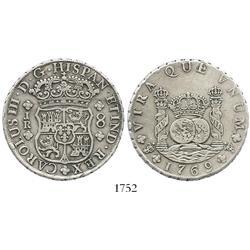 Potosi, Bolivia, pillar 8 reales, Charles III, 1769JR (curved 9).