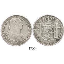 Potosi, Bolivia, bust 4 reales, Charles IV, 1804PJ.