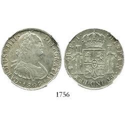 Potosi, Bolivia, bust 4 reales, Charles IV, 1807PJ, encapsulated NGC AU-53.