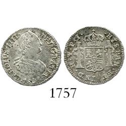 Potosi, Bolivia, bust 1/2 real, Charles IV, 1808PI (erroneous assayer-mark).