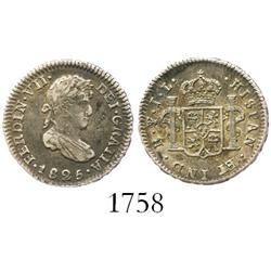 Potosi, Bolivia, bust 1/2 real, Ferdinand VII, 1825JL.