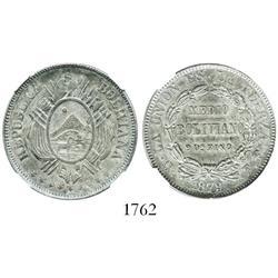 Potosi, Bolivia, 50 centavos (1/2 boliviano), 1879FE, encapsulated NGC AU-58.