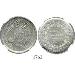 Potosi, Bolivia, 50 centavos (1/2 boliviano), 1897ES, encapsulated NGC AU-58.