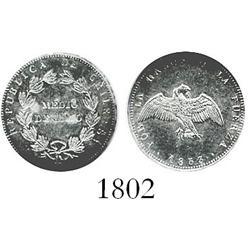 Santiago, Chile, 1/2 decimo, 1853, encapsulated NGC MS-63.