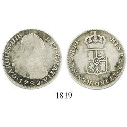 Bogota, Colombia, bust 2 reales, Charles IV, 1792JJ, rare.