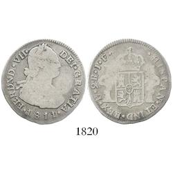 Popayan, Colombia, bust 2 reales, Ferdinand VII (bust of Charles IV), 1811/0JF, mintmark P/? (unlist