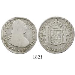 Popayan, Colombia, bust 2 reales, Ferdinand VII (bust of Charles IV), 1813JF.