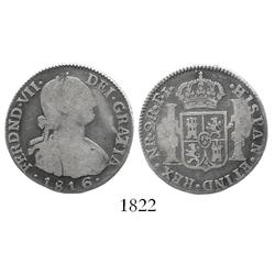 Bogota, Colombia, bust 2 reales, Ferdinand VII (bust of Charles IV), 1816FJ/JJ, rare.