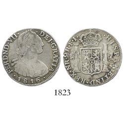 Bogota, Colombia, bust 2 reales, Ferdinand VII (bust of Charles IV), 1816FJ.