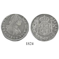 Bogota, Colombia, bust 2 reales, Ferdinand VII (bust of Charles IV), 1819FJ, wide date.