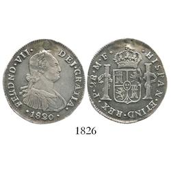 Popayan, Colombia, bust 2 reales, Ferdinand VII (bust of Charles IV), 1820/0MF.