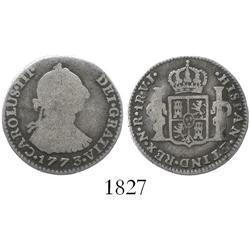Bogota, Colombia, bust 1 real, Charles III, 1773VJ, scarce.