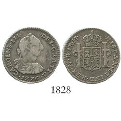 Bogota, Colombia, bust 1 real, Charles III, 1776JJ, rare.